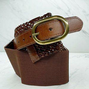 Ann Taylor Loft Brown Wide Braided Woven Belt